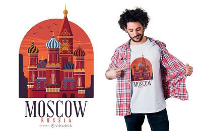 Diseño de camiseta de puntos de referencia de Moscú