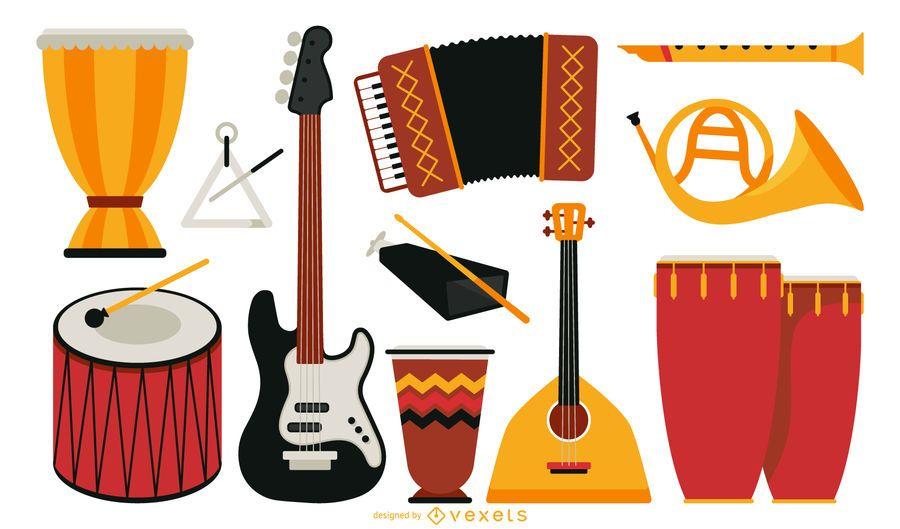 Colección de instrumentos musicales planos.