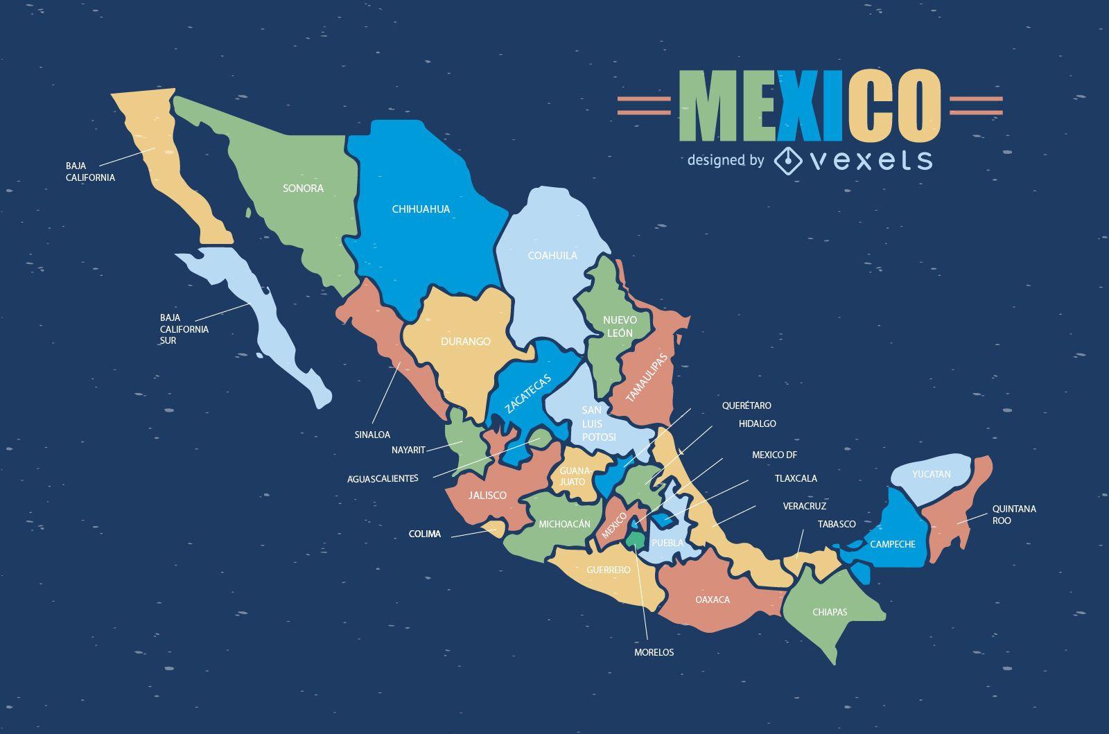Colorido mapa de México
