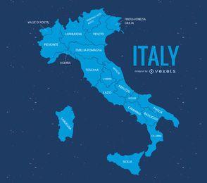 Ilustração do mapa de Itália