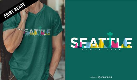 Diseño de camiseta de Seattle skyline