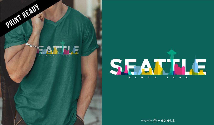 Diseño de camiseta de Seattle skyline