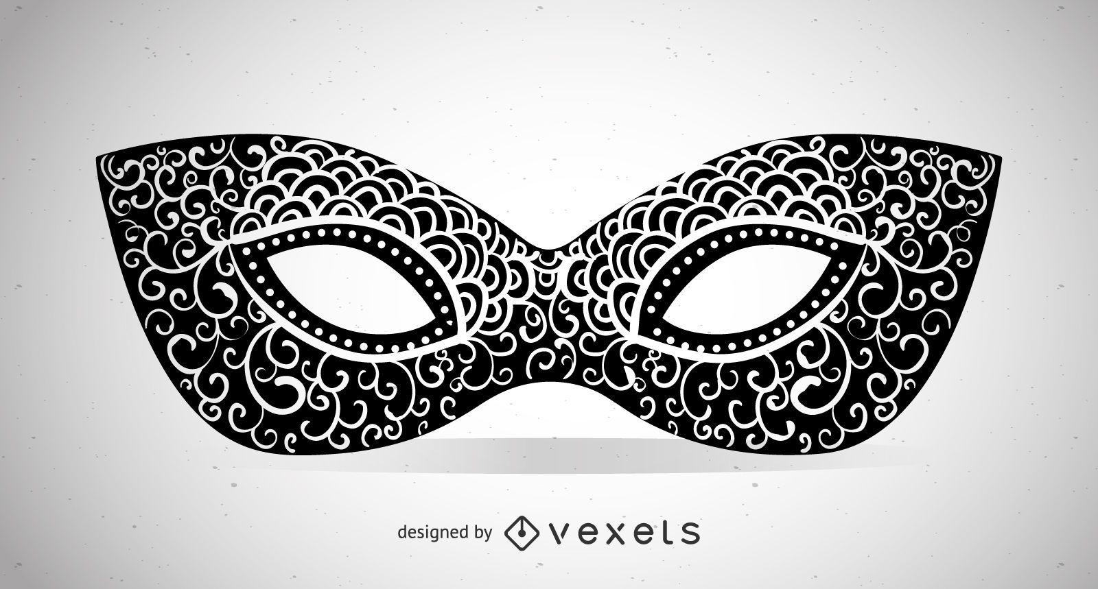 Swirly masquerade mask illustration