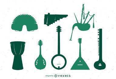 Varios instrumentos musicales del mundo.