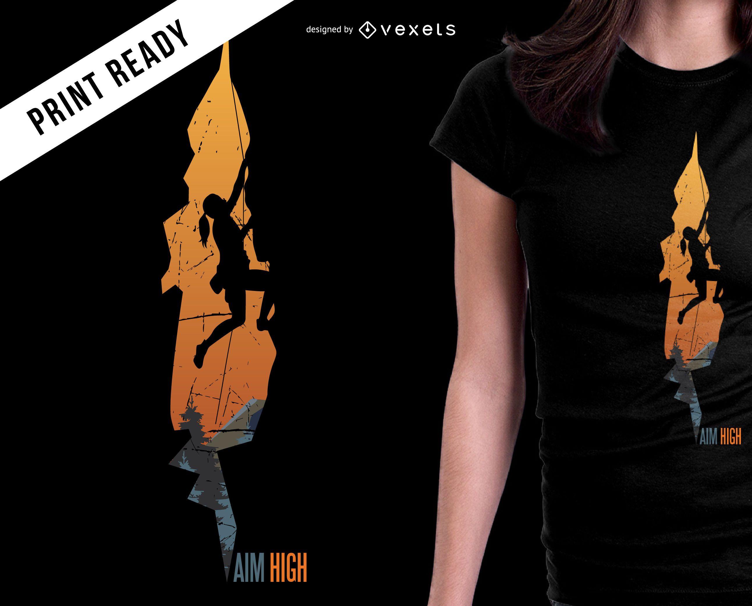 Diseño de camiseta de objetivo de alta montaña.