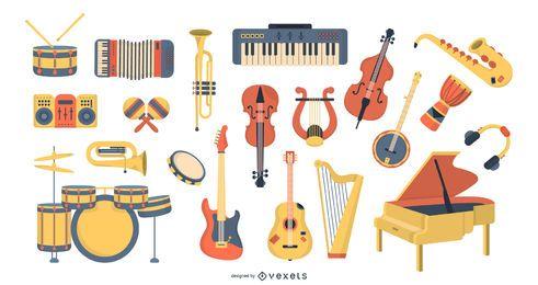 Grande conjunto de instrumentos musicais