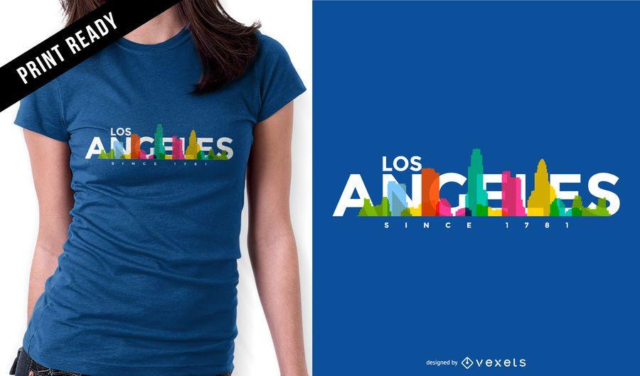 Diseño de camiseta de Los Angeles Skyline