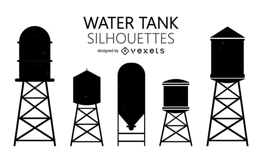Siluetas de tanques de agua.
