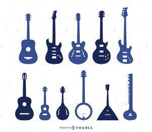 Conjunto de silueta de tipos de guitarra.