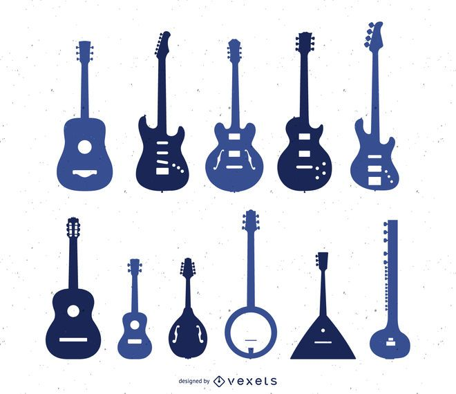Silhouette set of types of guitar