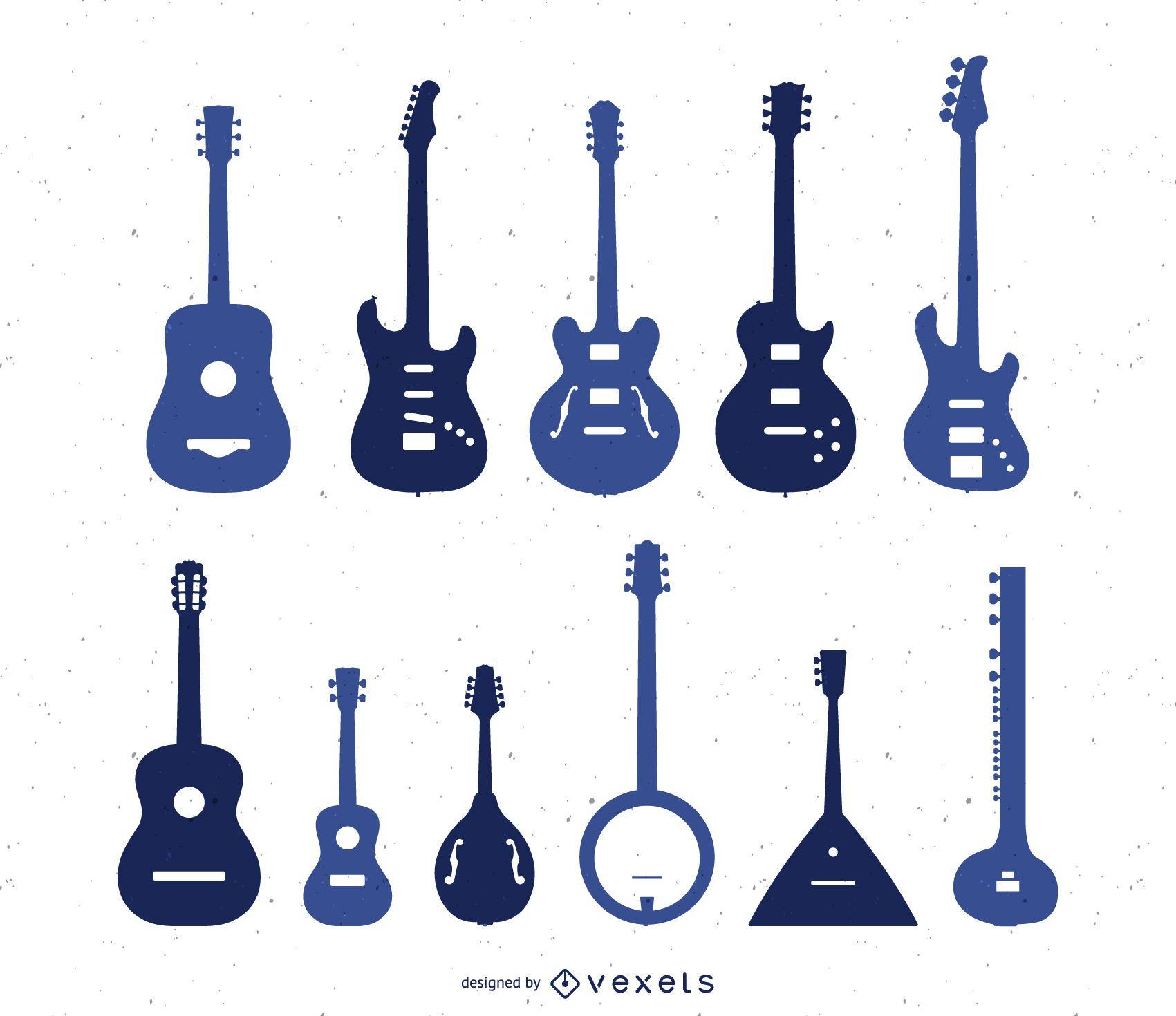 Conjunto de silhuetas de tipos de guitarra