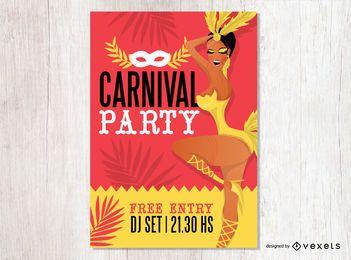 Diseño de flyer fiesta de carnaval.