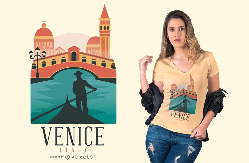 Diseño colorido de la camiseta de Venecia.