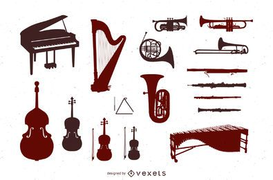 Orchestra instruments silhouette set