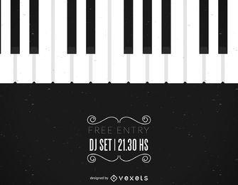 Folheto de música com ilustração de piano