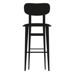 Bar stool with backrest flat icon