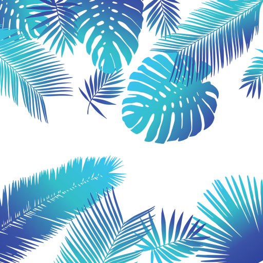 Blue tropical leaves background