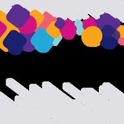 Quadrados coloridos e fundo de círculos
