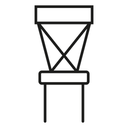 Icono de trazo de silla de espalda cruzada