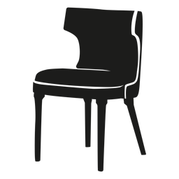 Curved back chair flat icon