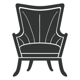 Fanback wing chair flat icon