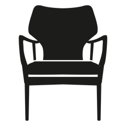Open arm chair flat icon