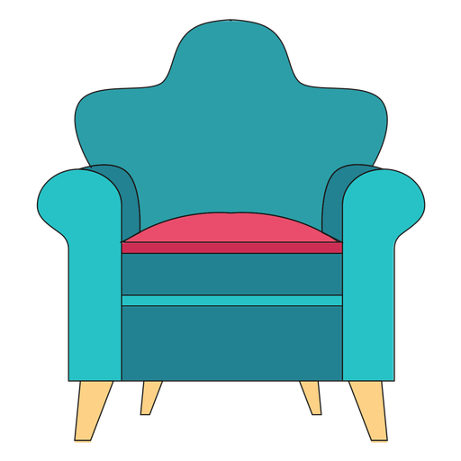 Rolled arm chair cartoon Transparent PNG