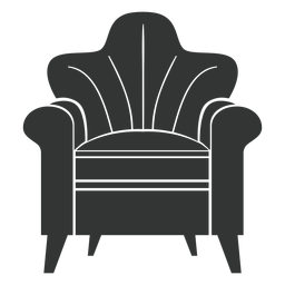 Rolled arm chair flat icon