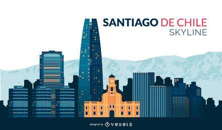 Flache Skyline von Santiago de Chile
