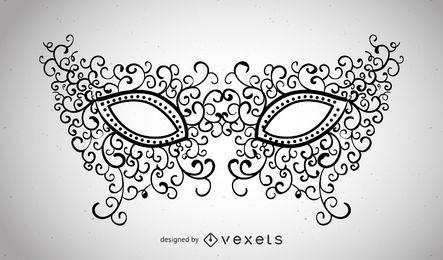 Illustrierte Karnevalsmaske mit Strudeln