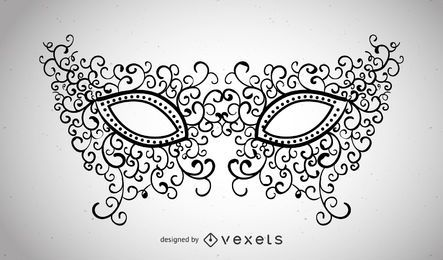 Máscara de carnaval ilustrada con remolinos.