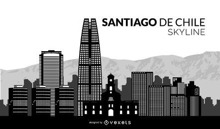 Santiago de Chile Silhouette Skyline