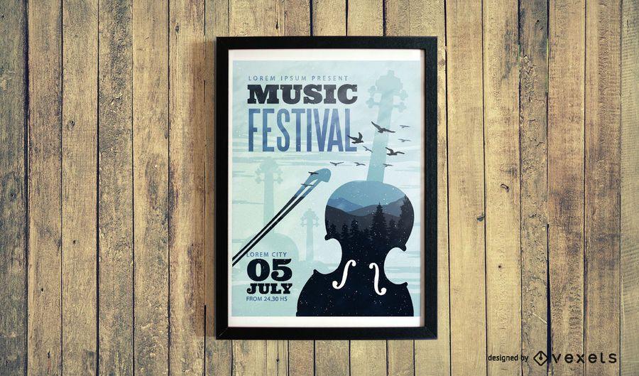 Design clássico do cartaz do festival de música