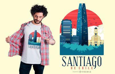 Projeto do t-shirt da skyline de Santiago de Chile
