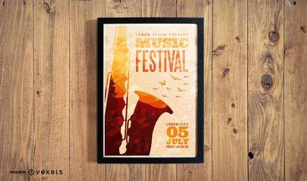 Modelo de cartaz do festival de jazz