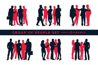 Conjunto de silhueta de grupos de pessoas