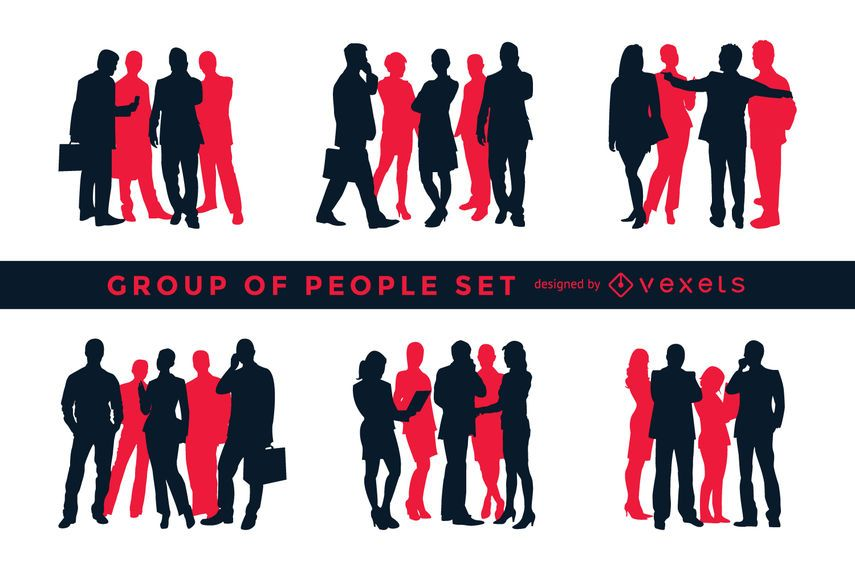 Silhouette set of groups of people