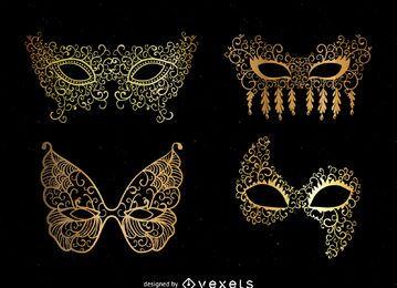 Conjunto de mascaras doradas