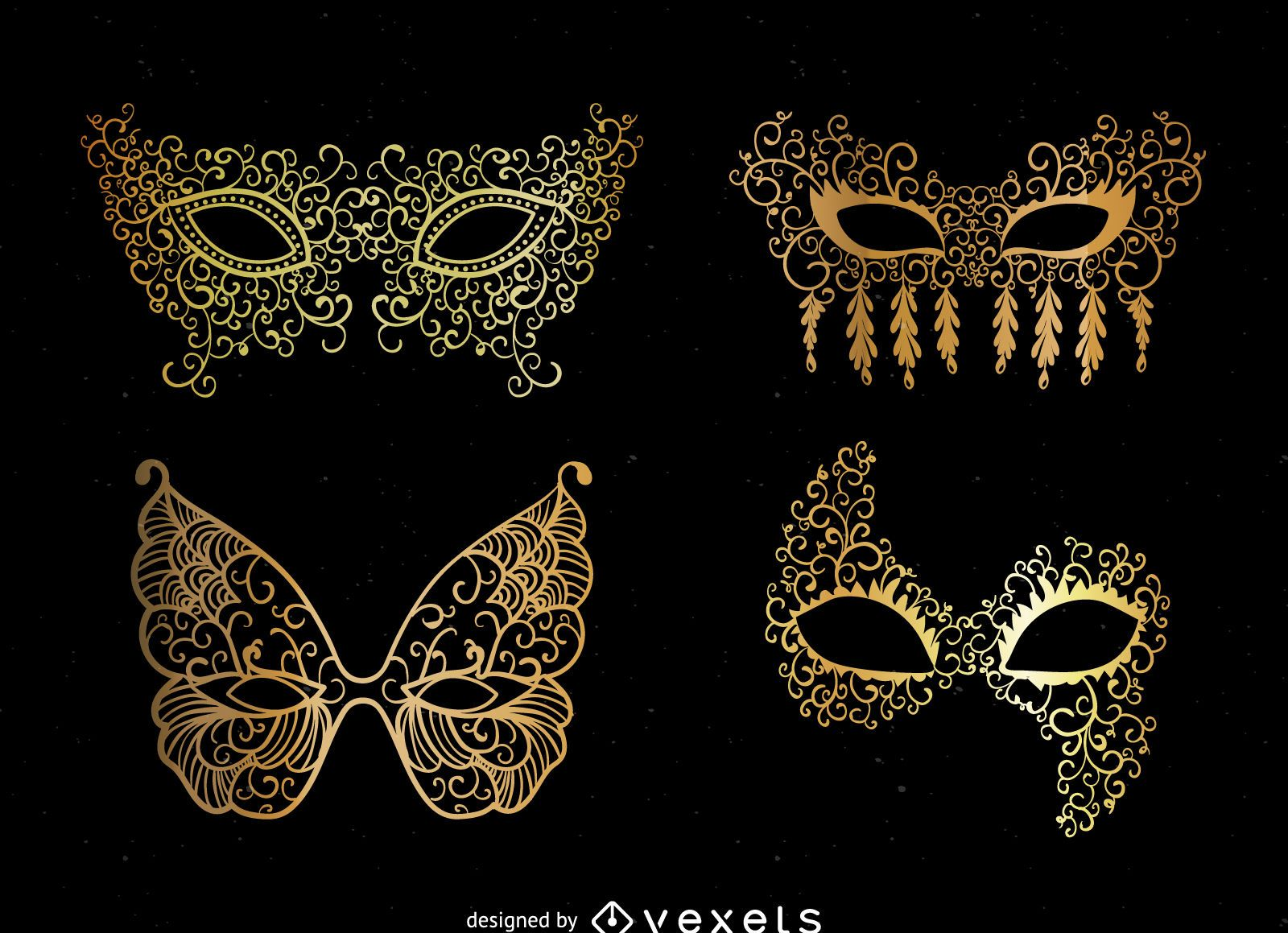 Set of golden masks