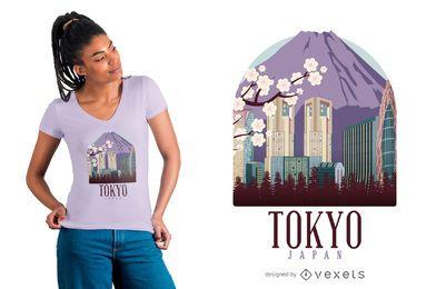 Diseño de camiseta de ilustración de Tokio