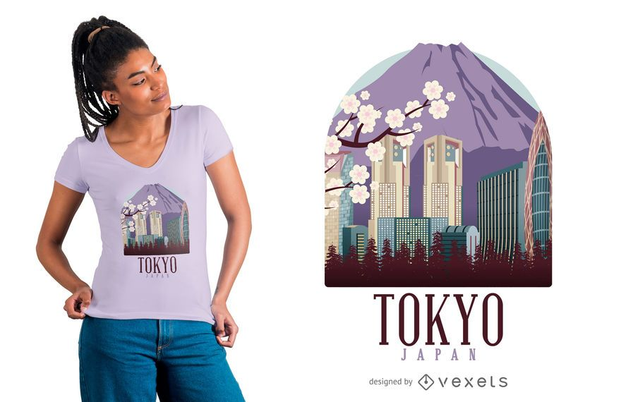 Tokyo illustration t-shirt design