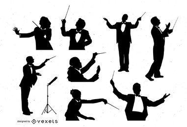 Conjunto de silhueta de maestro de orquestra