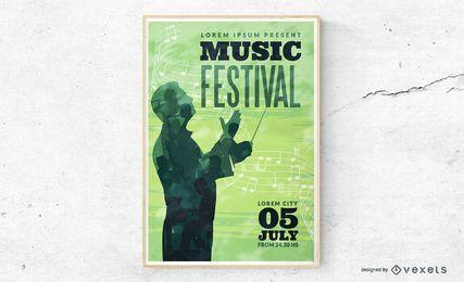Ilustração de cartaz de música clássica