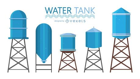Blue water tank illustrations