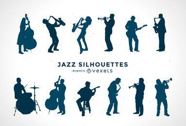 Conjunto de silhueta de músicos de jazz