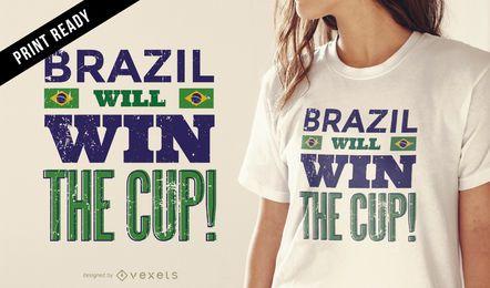 Projeto do t-shirt do copo de Brasil Rússia