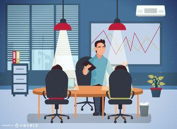 Ilustración de la oficina con los trabajadores