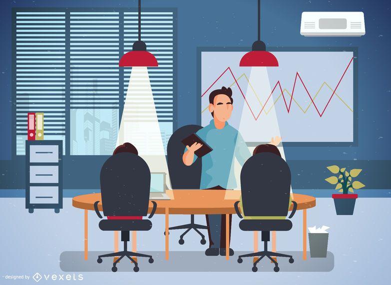 Ilustração do escritório com os trabalhadores