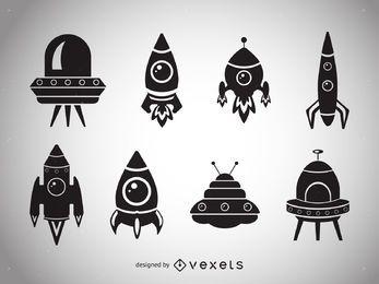 Coleção de silhuetas de nave espacial
