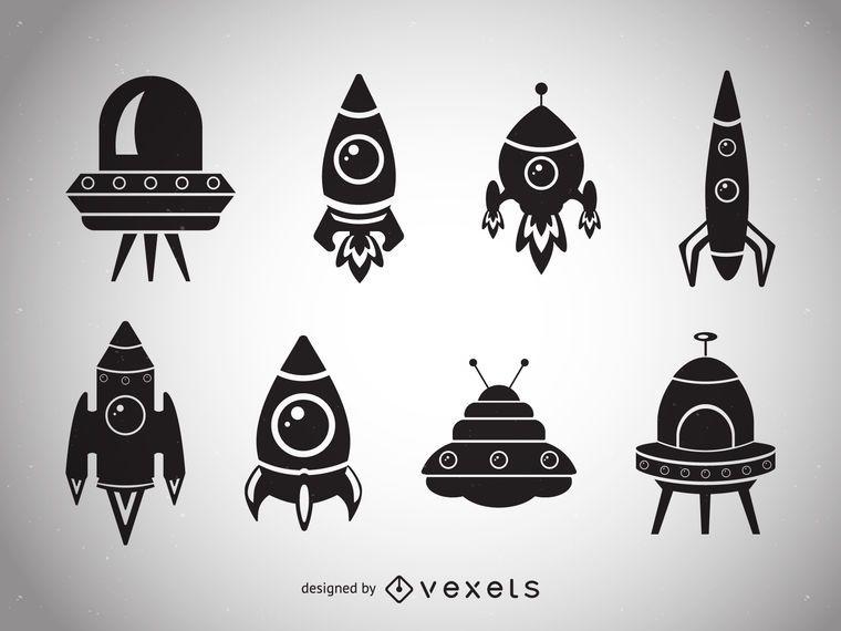 Colección de siluetas de nave espacial.